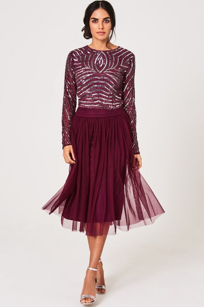 Little Mistress Luxury Emma Plum Hand-Embellished Linear Sequin Top Co-ord