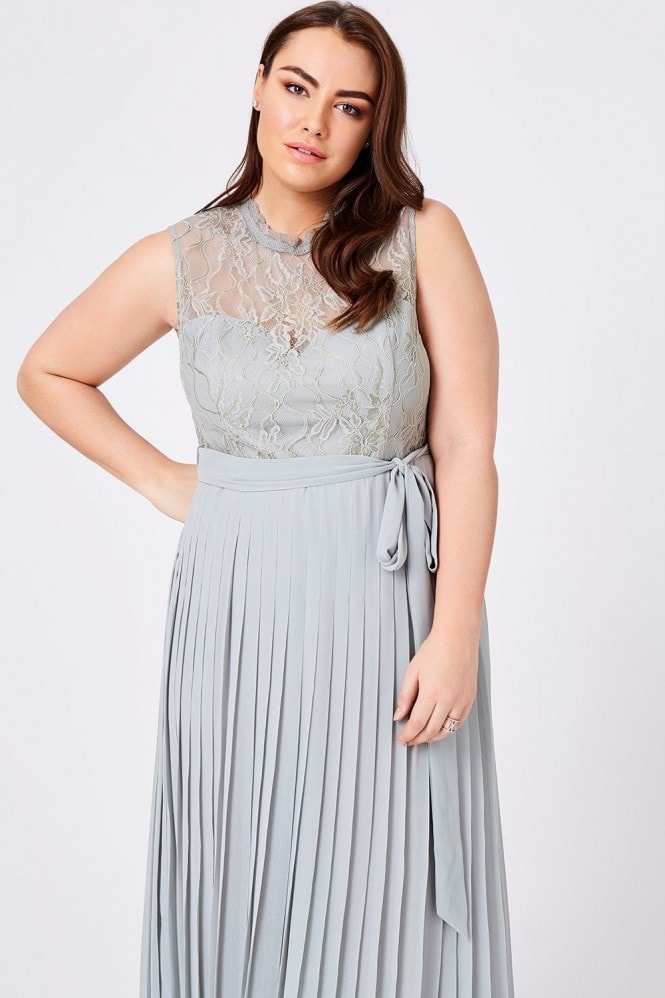Little Mistress Curvy Lissa Waterlily Lace Pleat Maxi