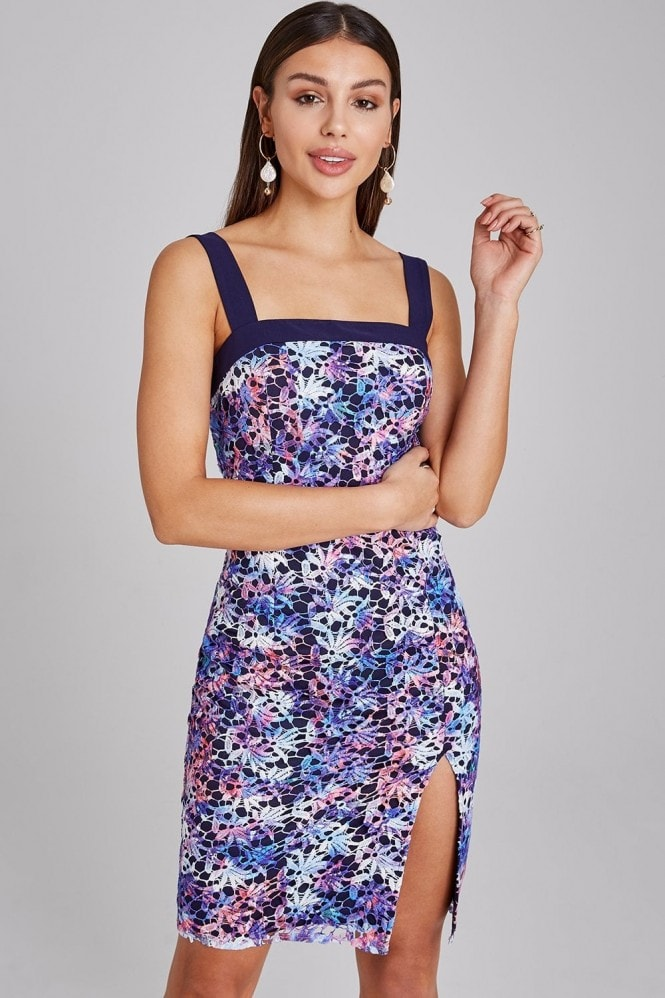 Paper Dolls Essex Navy Printed-Lace Dress