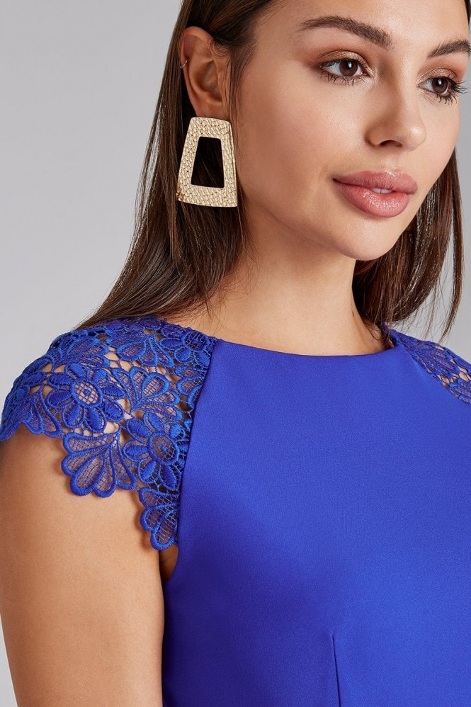 Paper Dolls Chapel Cobalt Lace-Trim Bodycon Dress