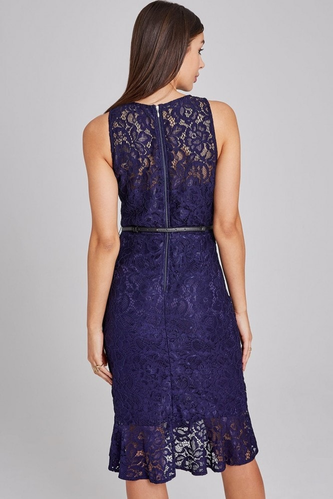 Paper Dolls Oakland Navy Lace Belted Peplum Bodycon Dress