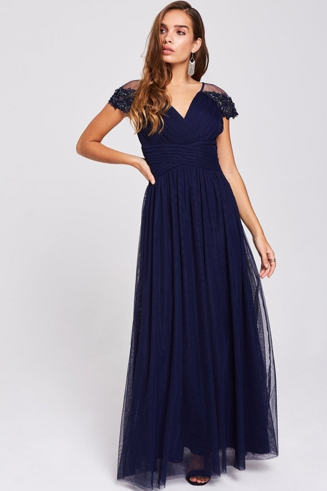 Little Mistress Raina Navy Hand-Embellished Maxi Dress