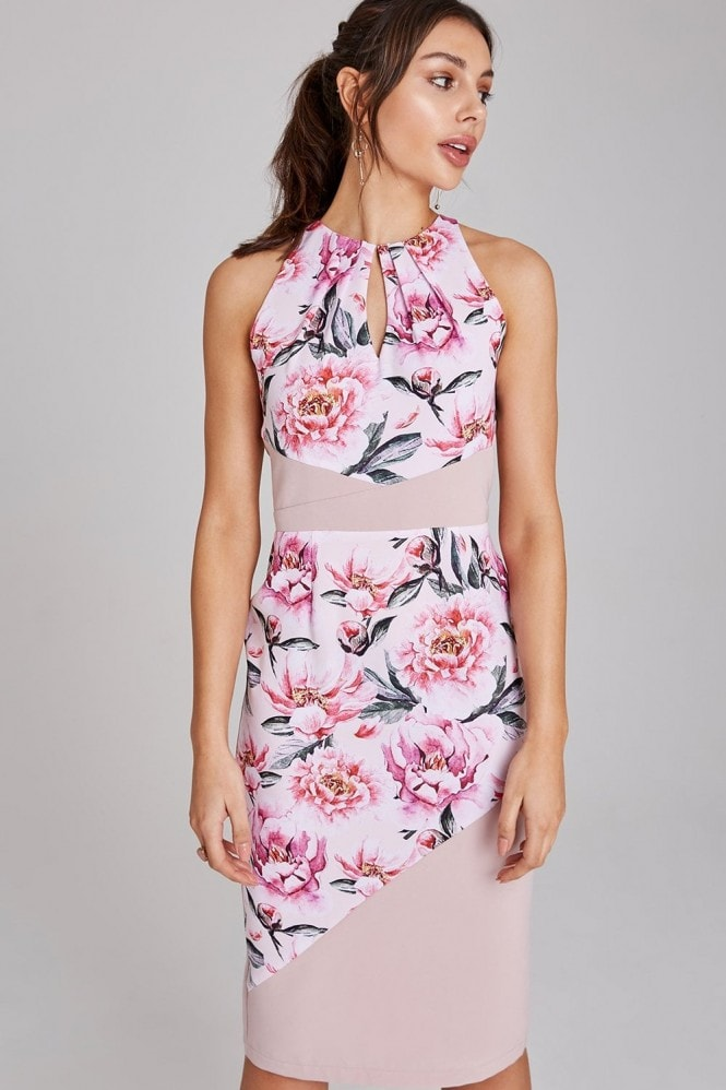 Paper Dolls Saunders Blush Floral-Print Bodycon Dress