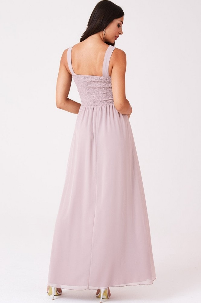Little Mistress Grace Mink Embellished Neck Maxi Dress