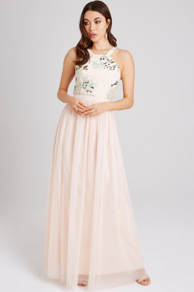 Little Mistress Bea Nude Sequin Maxi Dress