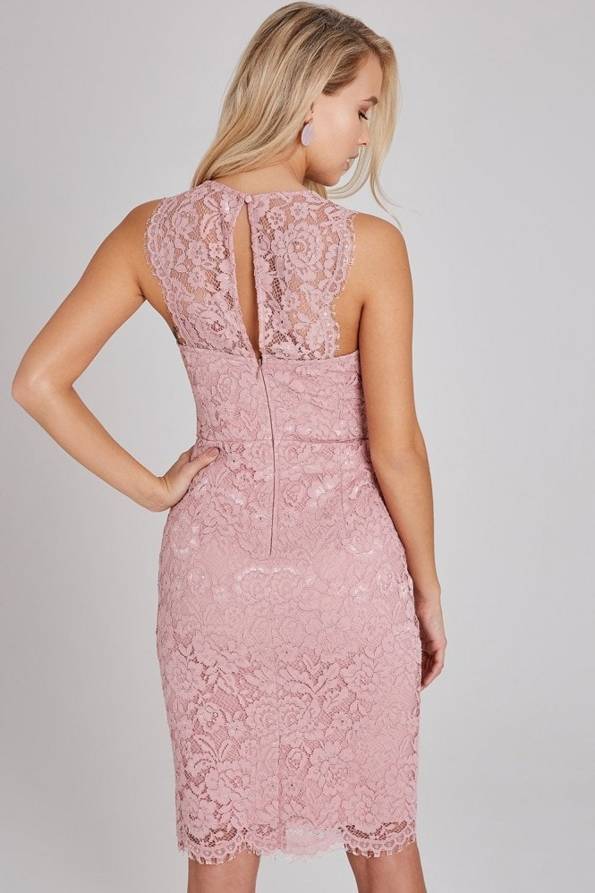 Little Mistress Eloise Rose Lace Bodycon Dress