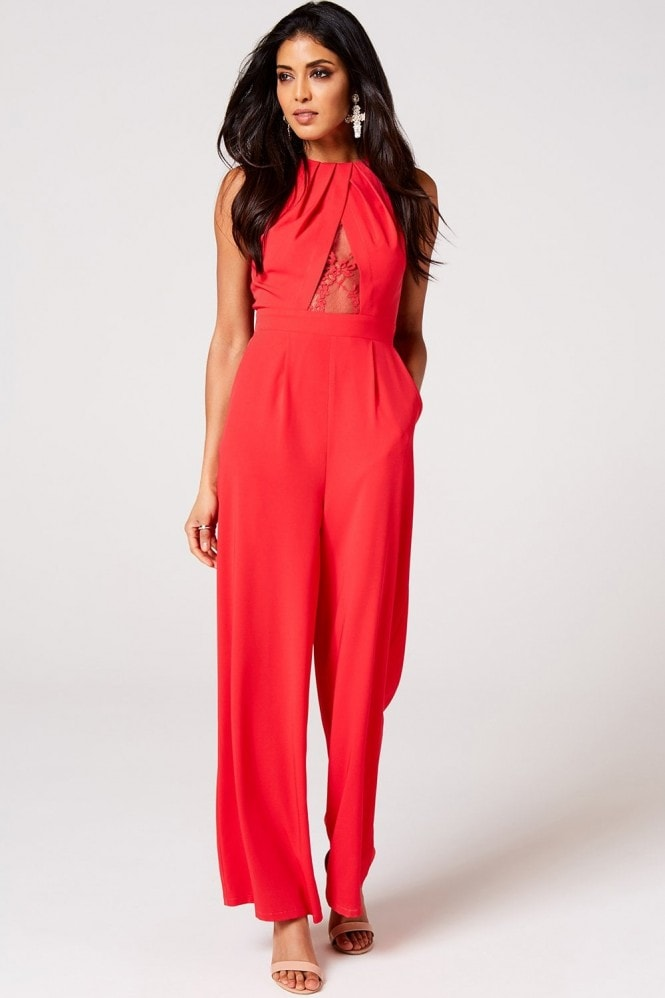 Little Mistress Selma Poppy Lace Keyhole Jumpsuit