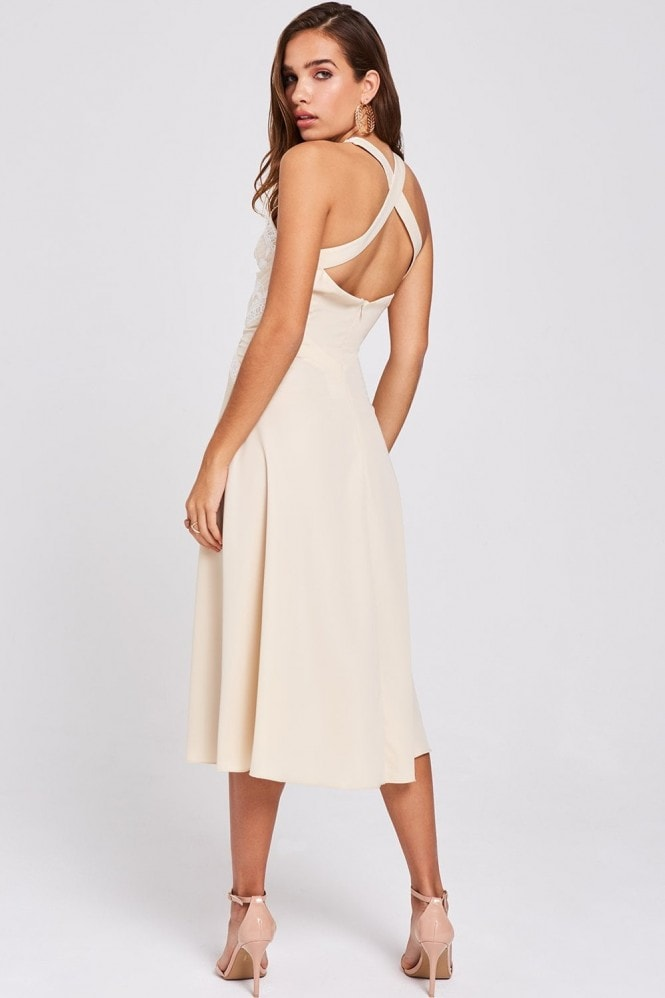 Little Mistress Ellis Buttercup Embroidered Midi Dress