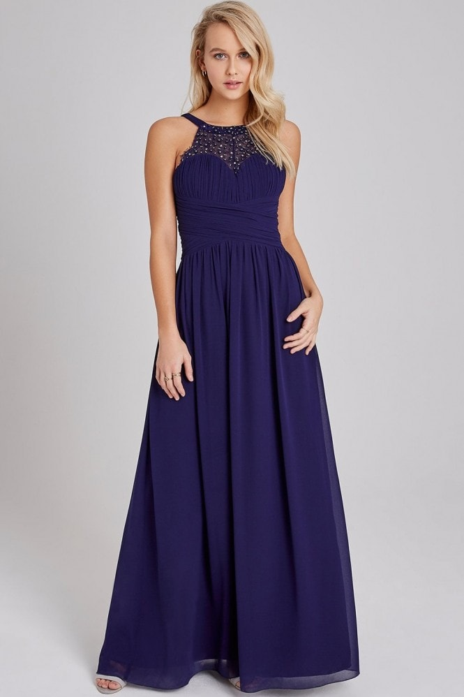 Little Mistress Bridesmaid Erin Navy Hand-Embellished Pearl-Trim Maxi Dress