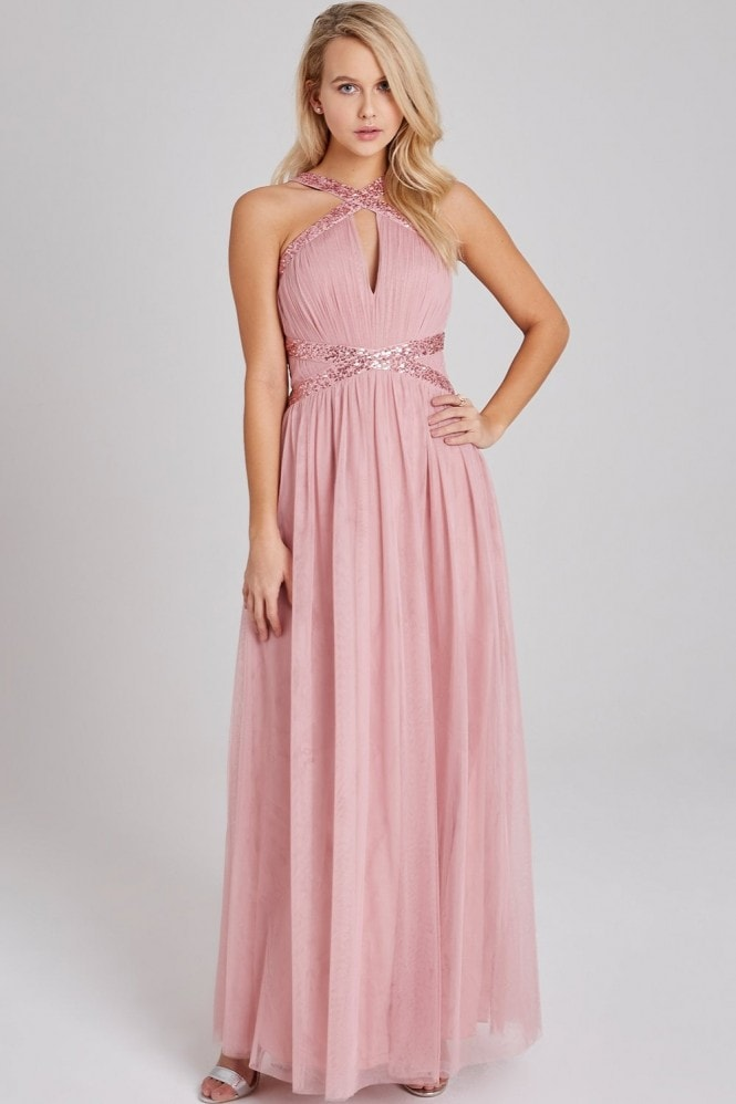 Little Mistress Edith Rose Sequin-Trim Maxi Dress