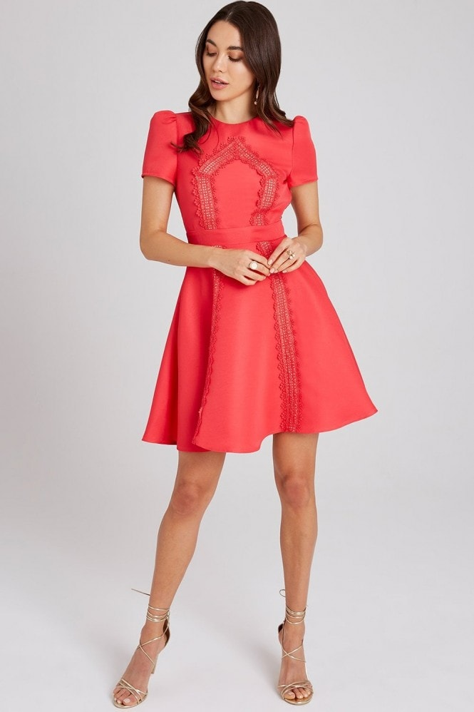 Little Mistress Selma Poppy Lace-Trim Skater Dress