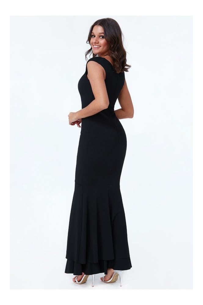 Goddiva Black Double Hem Frill Maxi Dress
