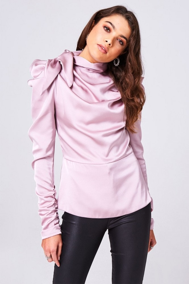 Florida Pink Satin Bow Statement Shoulder Top