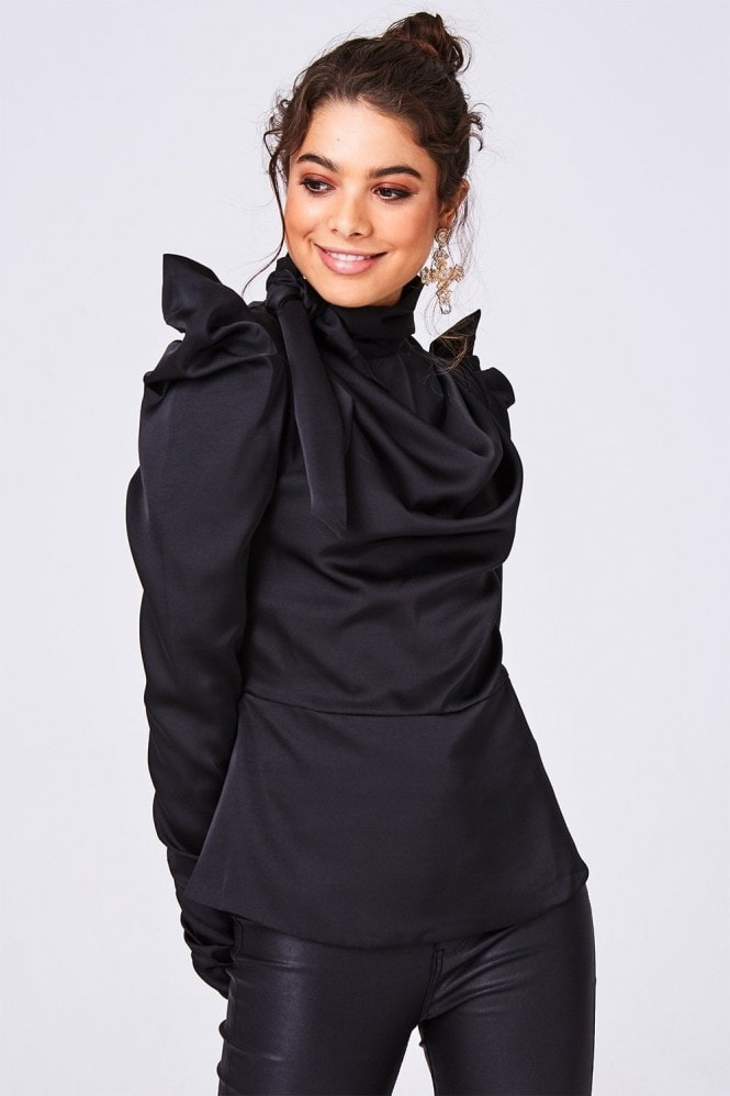 Little Mistress Florida Black Satin Bow Statement Shoulder Top
