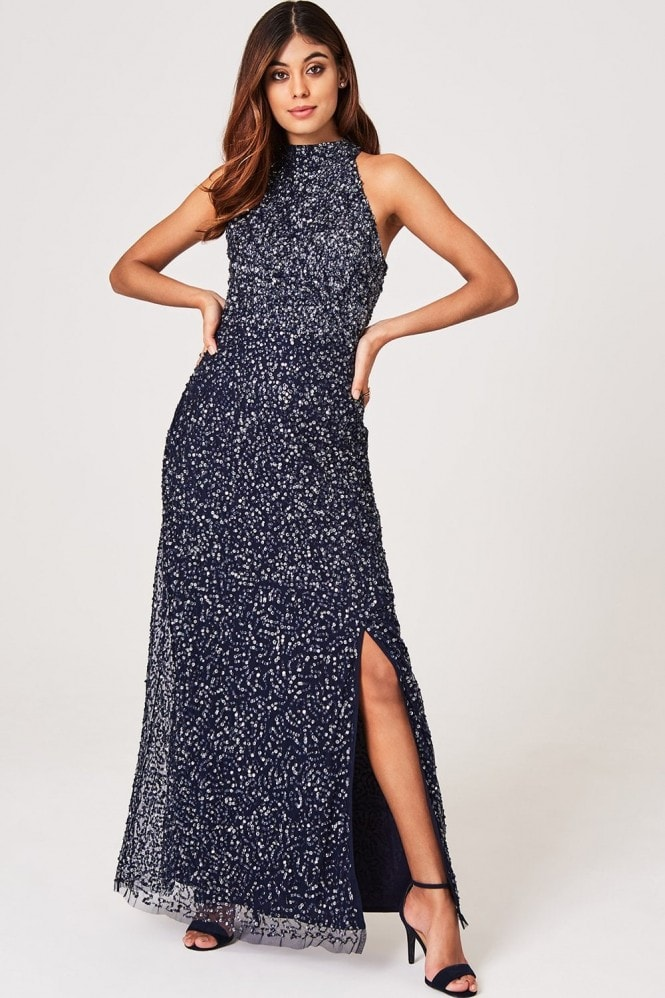 Luxury Nicky Navy Hand-Embellished Sequin Maxi Dress