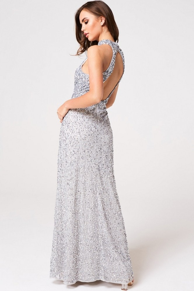 Little Mistress Luxury Nicky Grey Hand-Embellished Sequin Maxi Dress