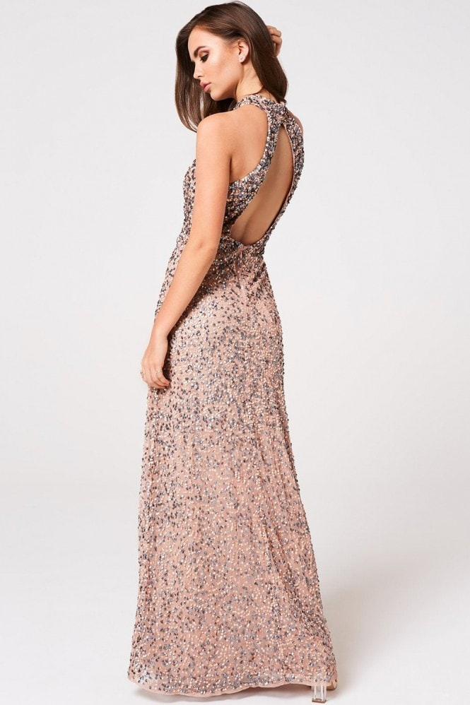 Little Mistress Luxury Nicky Mink Hand-Embellished Sequin Maxi Dress