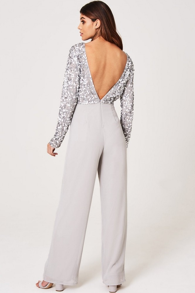 Little Mistress Luxury Brice Grey Hand-Embellished Sequin Jumpsuit