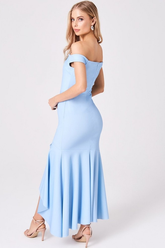 Girls on Film Elate Sky Blue Frill Hem Bardot Maxi Dress