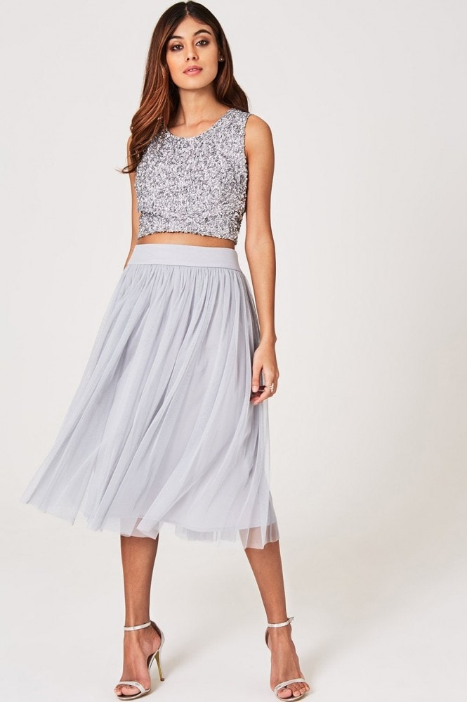 Little Mistress Luxury Kaya Grey Hand-Embellished Sequin Top Co-ord