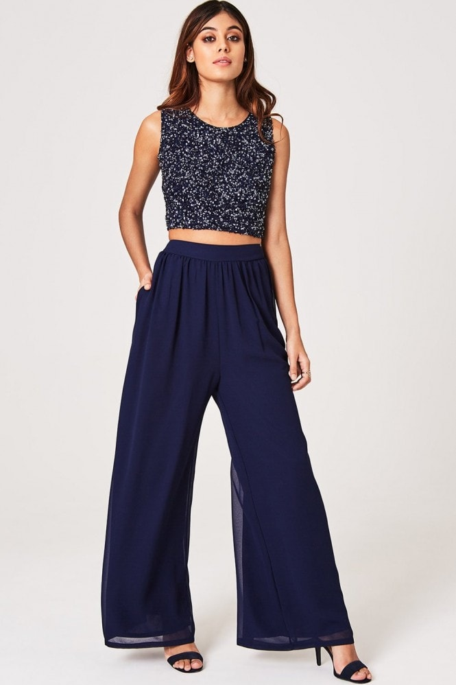 Little Mistress Luxury Mandy Navy Hand-Embellished Sequin Top Co-ord