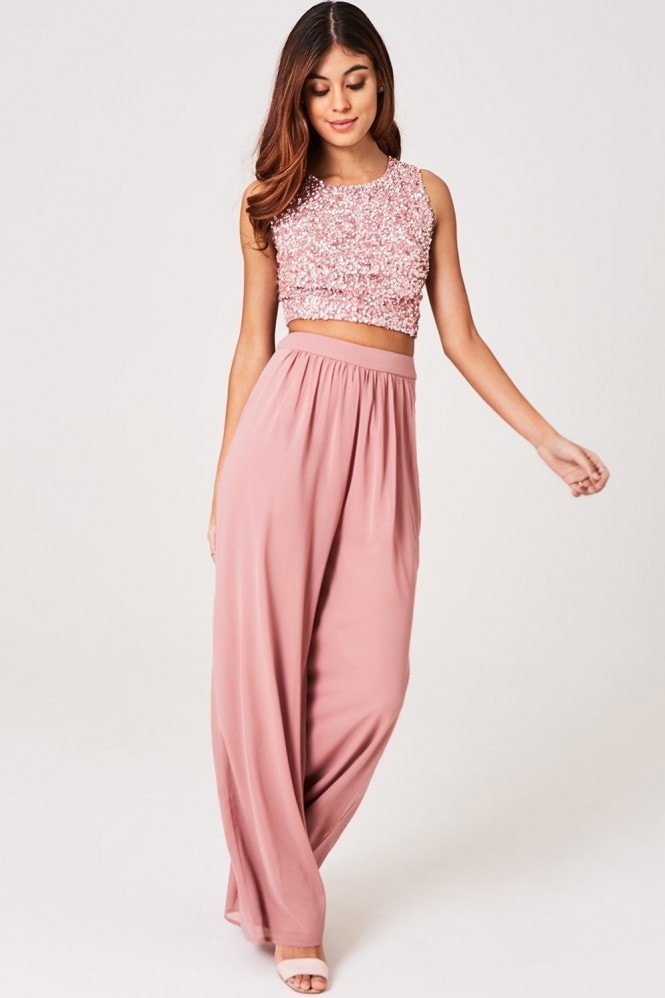Little Mistress Luxury Mandy Dusty Blush Hand-Embellished Sequin Top Co-ord