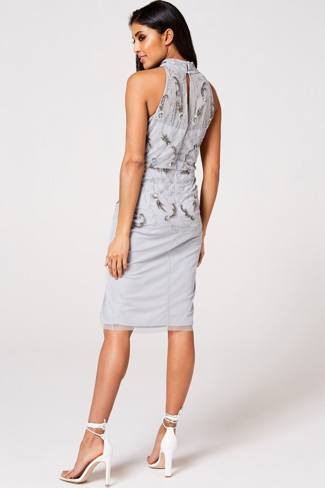 Little Mistress Luxury Kaylee Grey Floral Hand-Embellished Midi Pencil Dress