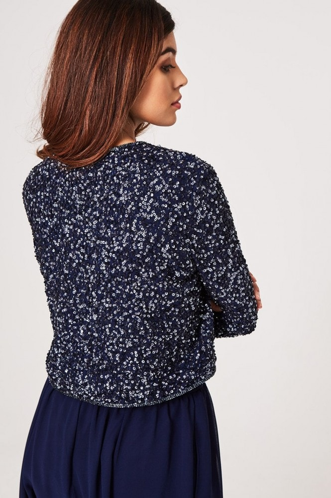 Little Mistress Luxury Effy Navy Hand-Embellished Sequin Jacket
