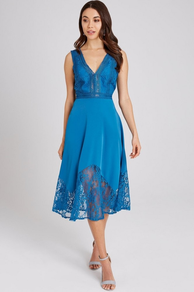 Little Mistress Reagan Lagoon Blue Lace-Trim Midi Dress
