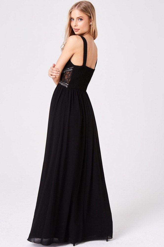 Little Mistress Black Empire Maxi Dress