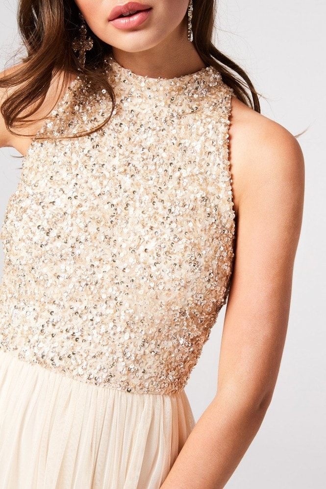 Little Mistress Luxury Cece Nude Hand-Embellished Sequin Midi Dress