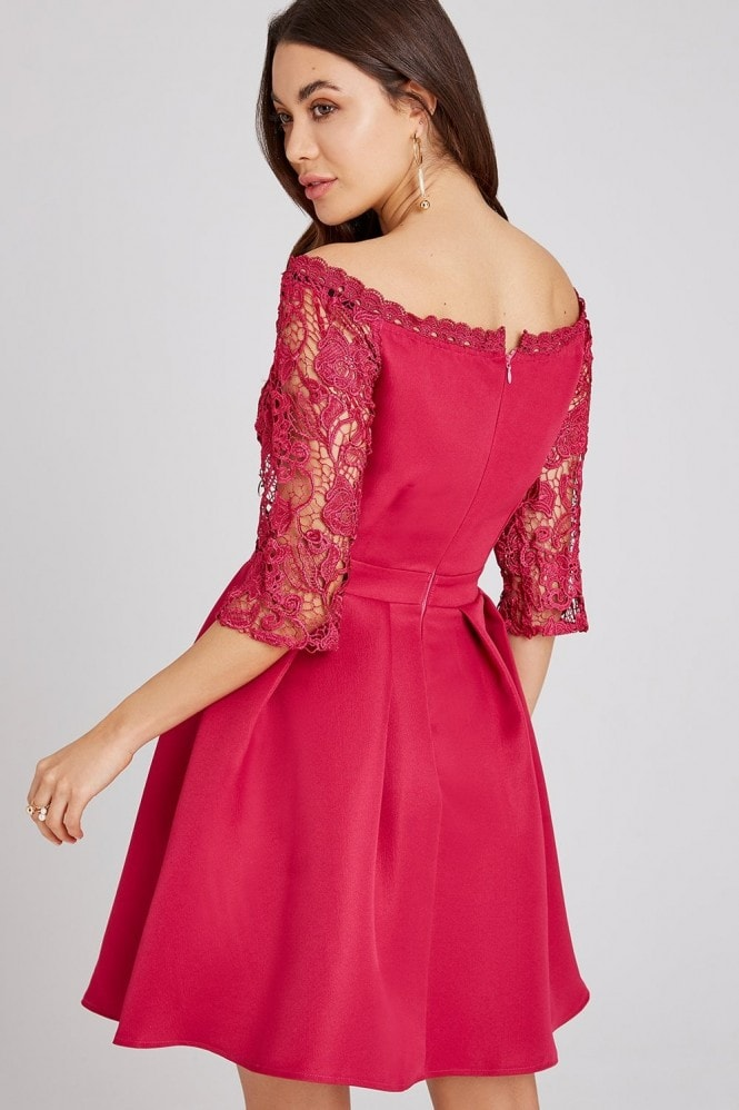 Little Mistress Frances Hot Pink Lace Bardot Skater Dress