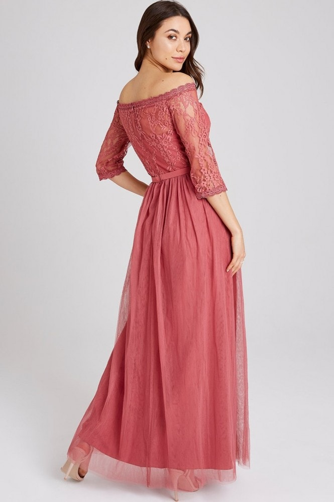Little Mistress Cassidy Sienna Blush Lace Bardot Maxi Dress
