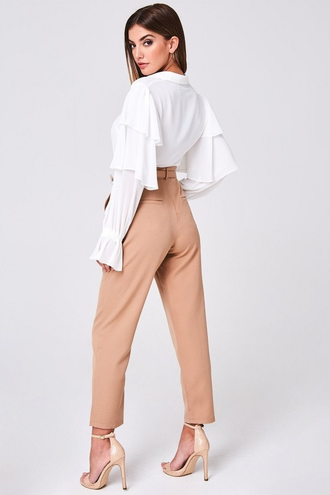 Girls on Film Maggie Beige Belted Trousers Co-ord