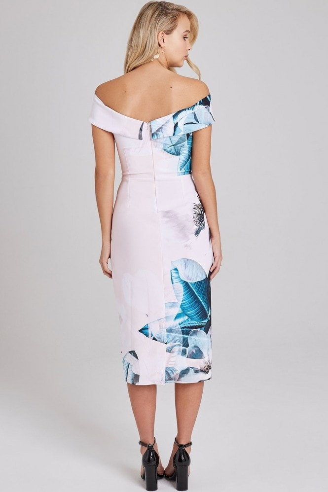 Little Mistress Kaitlin Placement-Print Bardot Midi Dress