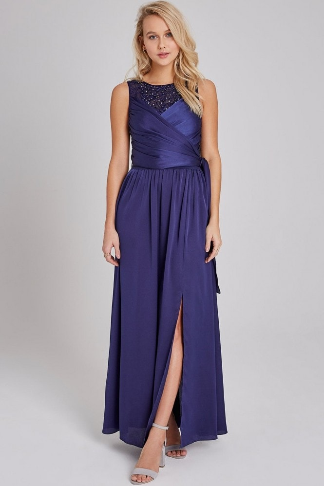 Little Mistress Erin Navy Satin Hand-Embellished Maxi Dress