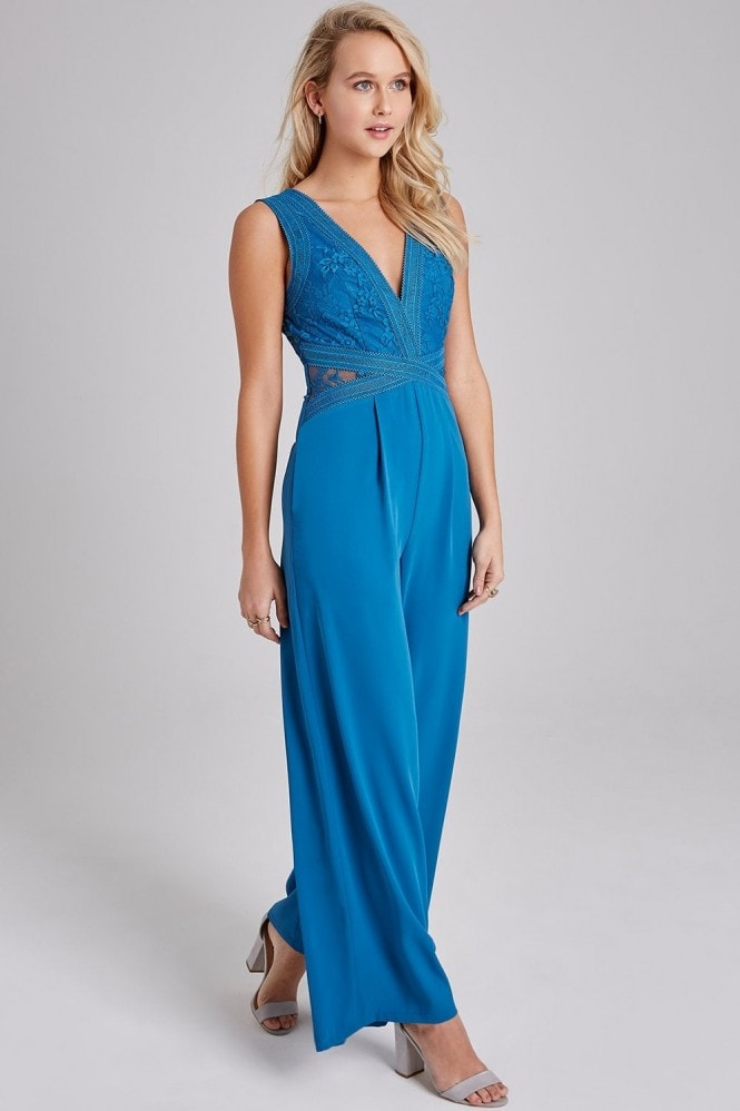 Little Mistress Reagan Lagoon Blue Lace Jumpsuit