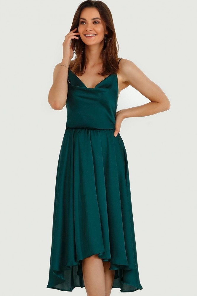 Green Plain Satin Dip Hem Cami Dress