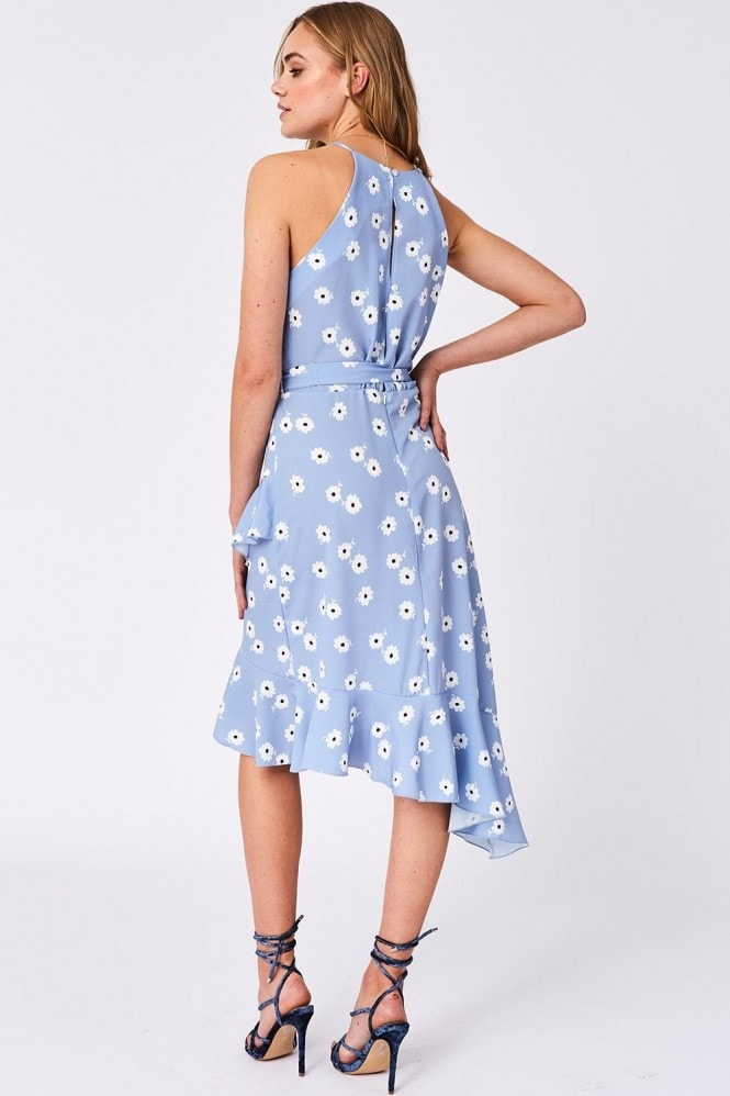 Girls on Film Triumph Blue Floral-Print Ruffle Midi Dress