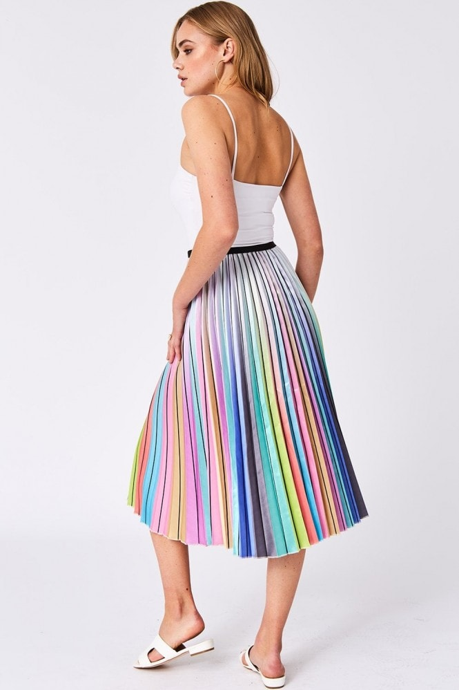 Unity Metallic Rainbow Pleated Skirt