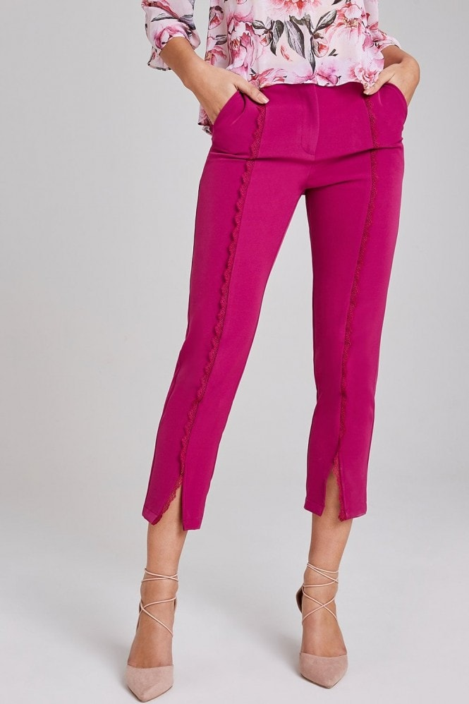 Paper Dolls Leman Magenta Crochet-Trim Cigarette Trousers