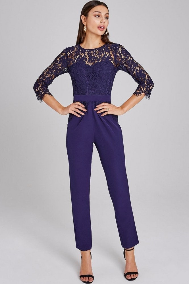 Paper Dolls Darley Navy Scallop Lace Jumpsuit