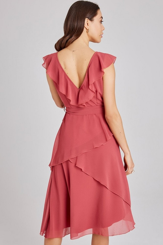 Little Mistress Cassidy Sienna Blush Layered Frill Midi Dress