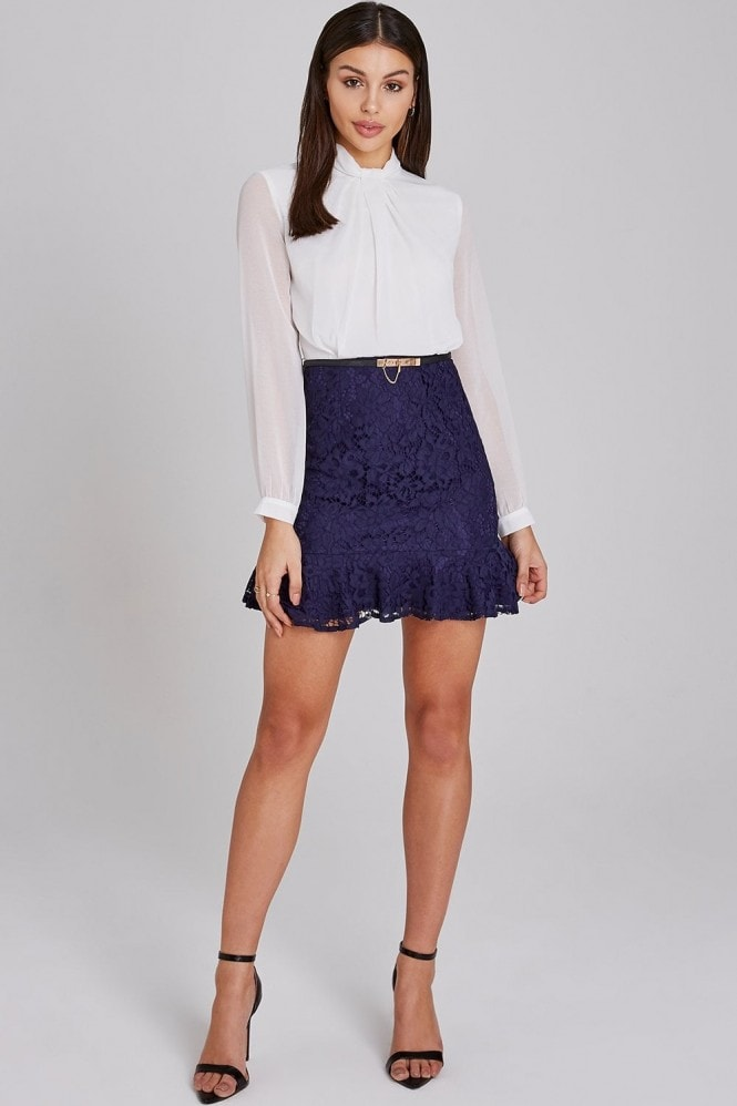 Paper Dolls Portsea Navy And White Lace Belted Peplum Mini Dress