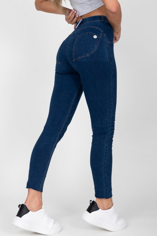 Hugz Jeans Dark Blue High Waist Denim Yellow Stitch