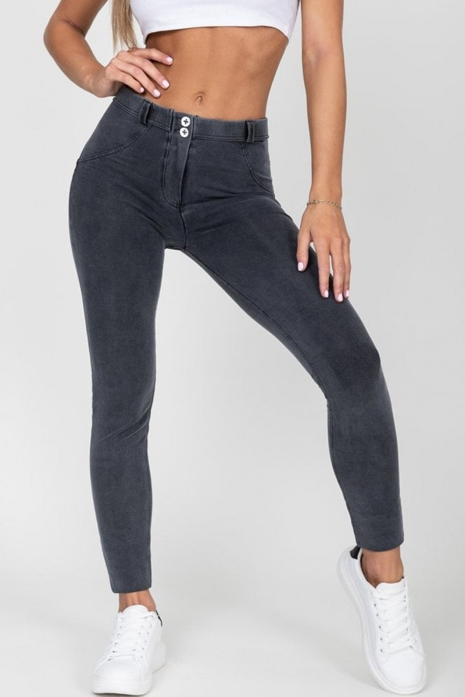 Hugz Jeans Grey Mid Waist Denim Black Stitch Jeans
