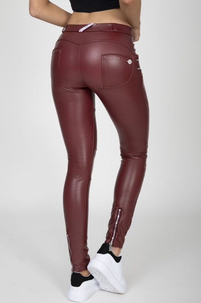 Hugz Jeans Wine Faux Leather Biker Pants High Waist