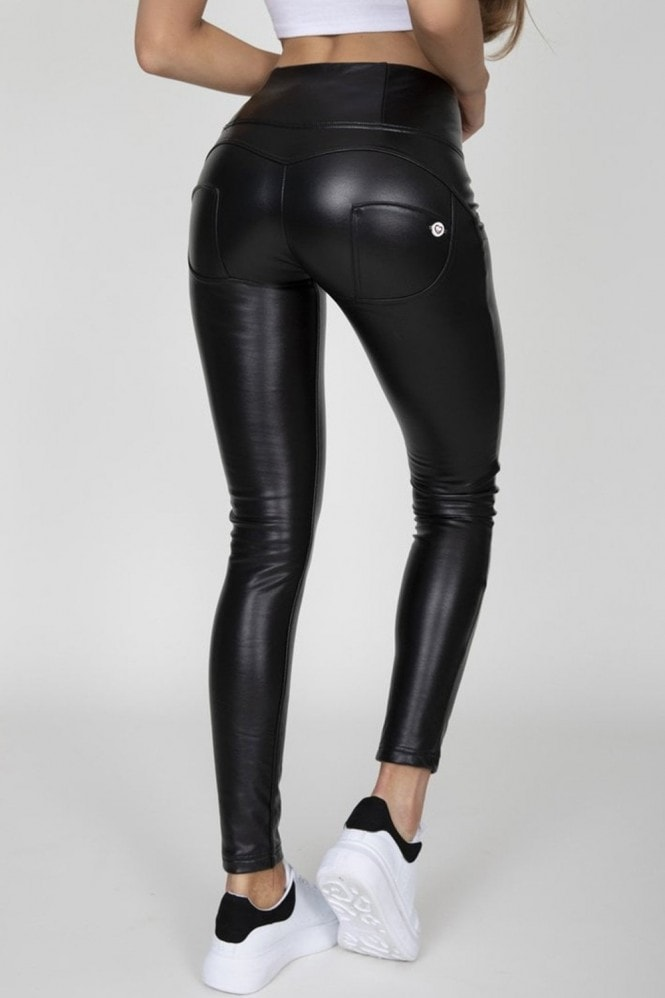 Hugz Jeans Black Faux Leather High Waist