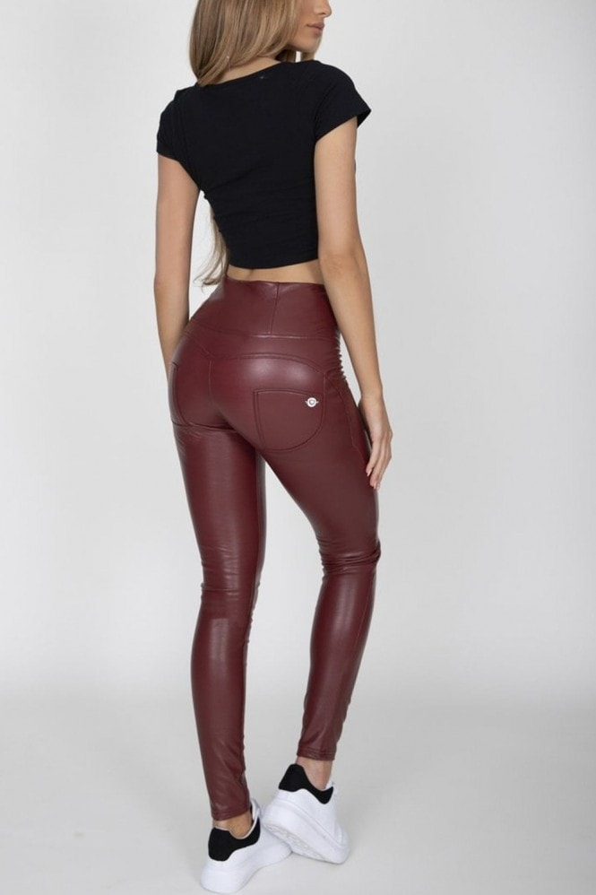 Hugz Jeans Wine Faux Leather High Waist