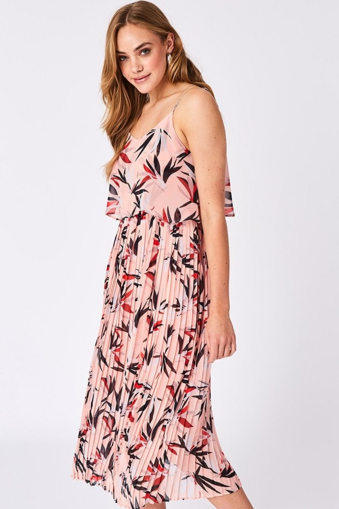 Pink Floral Pleated Midaxi Summer Dress